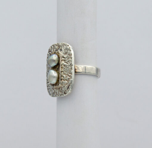 Jane Liddon Keshi Pearls On Textured Plate Ring Side