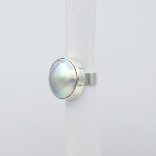 Jane Liddon Large Round Mabe Pearl Ring Side