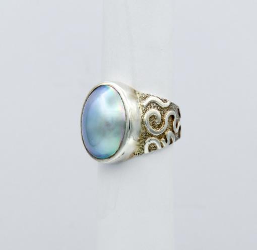 Jane Liddon Oval Mabe Pearl Swirl Ring