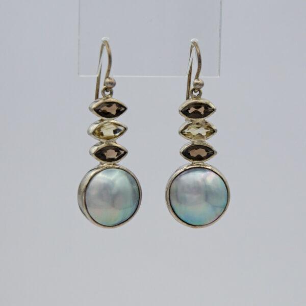 Jane Liddon Smokey Quartz Mabe Pearl Earings