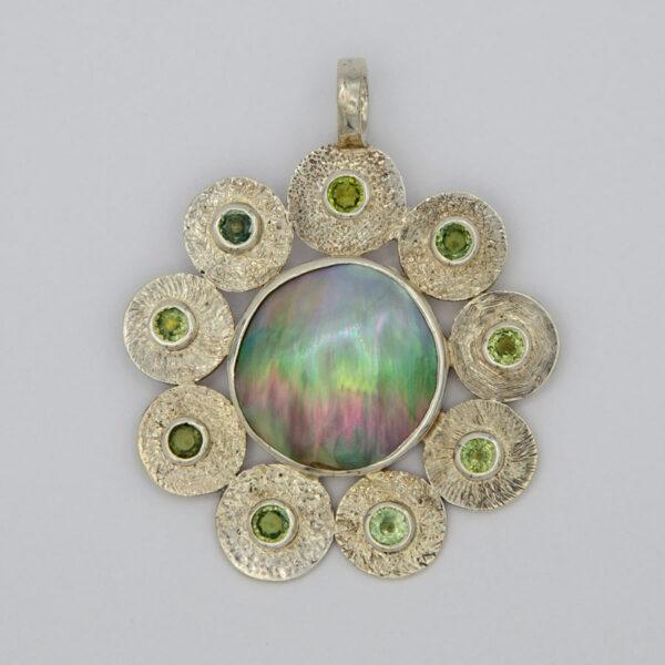 Jane Lidon Fancy Sapphire Mabe Pearl Pendant