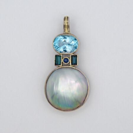 Jane Lidon Topaz Sapphire Mabe Pearl Pendant