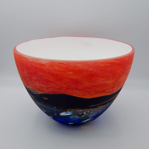 Peter Reynolds Red And Blue Medium Bowls Glass