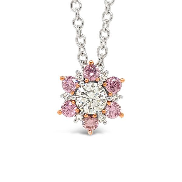 Desert Rose Jewellery 6P Pink Argyle Diamond Flower Pendant