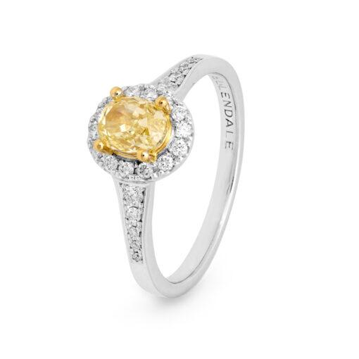 Edjr007001 Desert Rose Jewellery Yellow Diamond Halo Ring