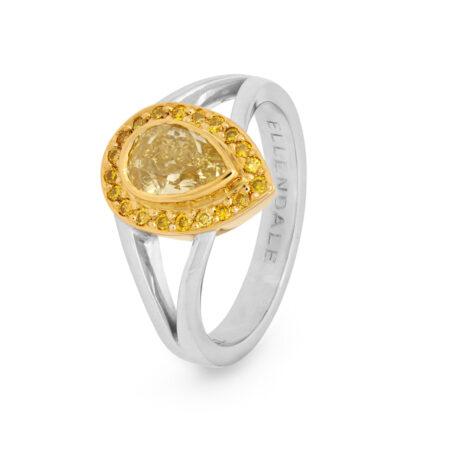 Edjr009b002 Desert Rose Jewellery 1carat Yellow Pear Diamond Ring