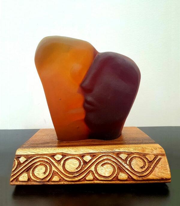 Sally Portnoy Besos 2 Face Heart Figure Original Glass Artwork